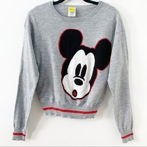 Disney Micky Mouse Acrylic Sweater w Stripe Accent